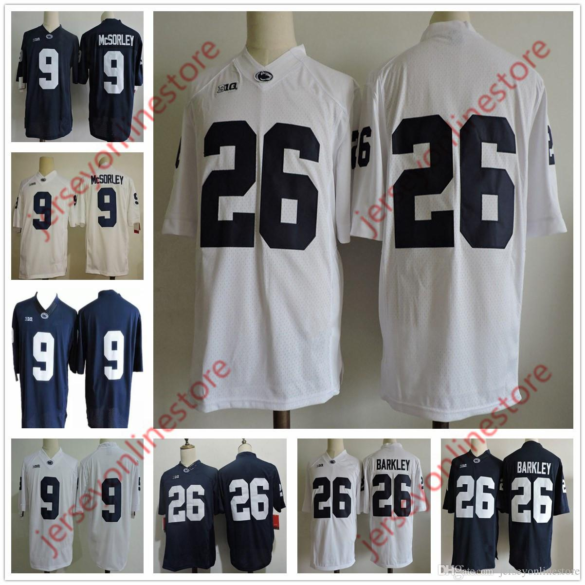 outlet store 52187 fb5f4 Mens Penn State Nittany Lions 26# Saquon Barkley College Football Jerseys  Navy Blue White 9# Trace McSorley Jersey