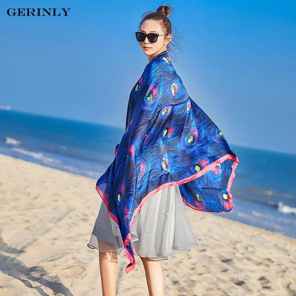 3a9e552a6b GERINLY 90x180cm Pareo Scarf Women Beach Sarongs Beach Cover Up Summer Silk  Scarves Peacock Feathers Print Shawls Bikini Dresses Leopard Scarf Knit  Scarf ...