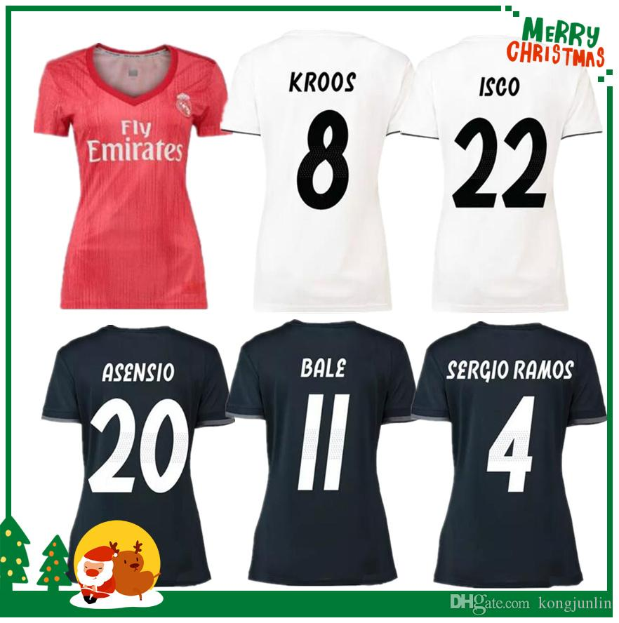Women 18 19 Real Soccer Jersey Benzema Ronaldo Modric Kroos Sergio Ramos  Bale Marcelo James 2018 2019 Home Madrid Shirts UK 2019 From Kongjunlin c0b990ccb786b