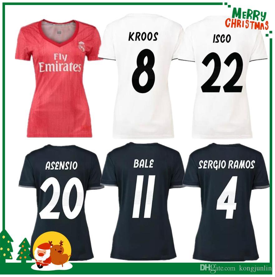 93ba453e0 2019 Women 18 19 Real Soccer Jersey Benzema Ronaldo Modric Kroos Sergio  Ramos Bale Marcelo James 2018 2019 Home Madrid Shirts From Kongjunlin