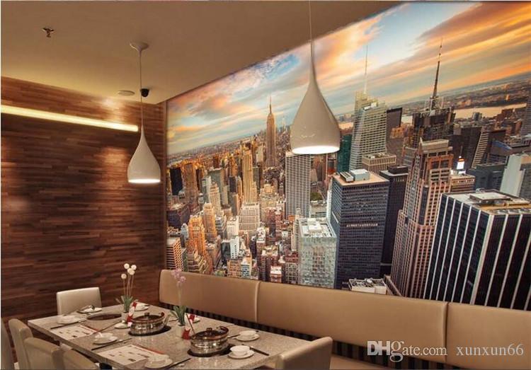 Quarto 3d papel de parede High-end mural costume de não-tecidos adesivos 3 d New York Cityscape pintura 3d murais da parede da sala wallpaper