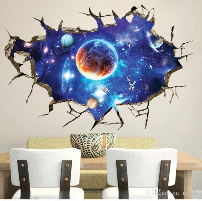 Vinyl 3d Muursticker.3d Outer Space Planet Decorative Wall Stickers For Kids Room Floor
