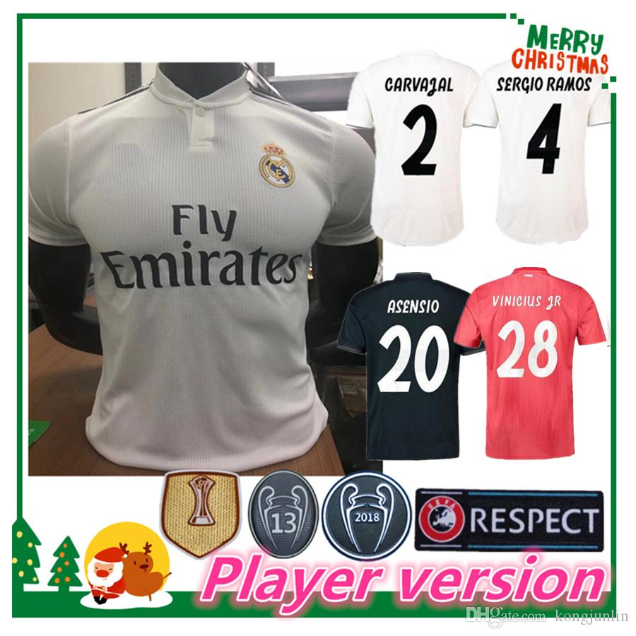 c5b9e44ce Player Version 18 19 Real Madrid Soccer Jersey Benzema Football Modric  Kroos Sergio Ramos Bale Marcelo James 2018 Home Shirts Online with   21.31 Piece on ...