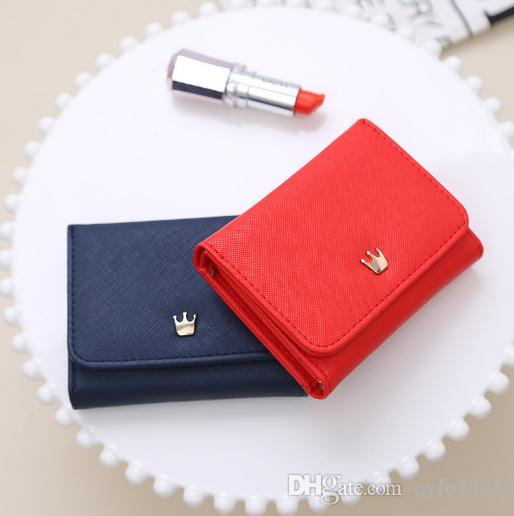 New crown short women wallet super thin zero wallet female student Mini Bag folder folding Wallet