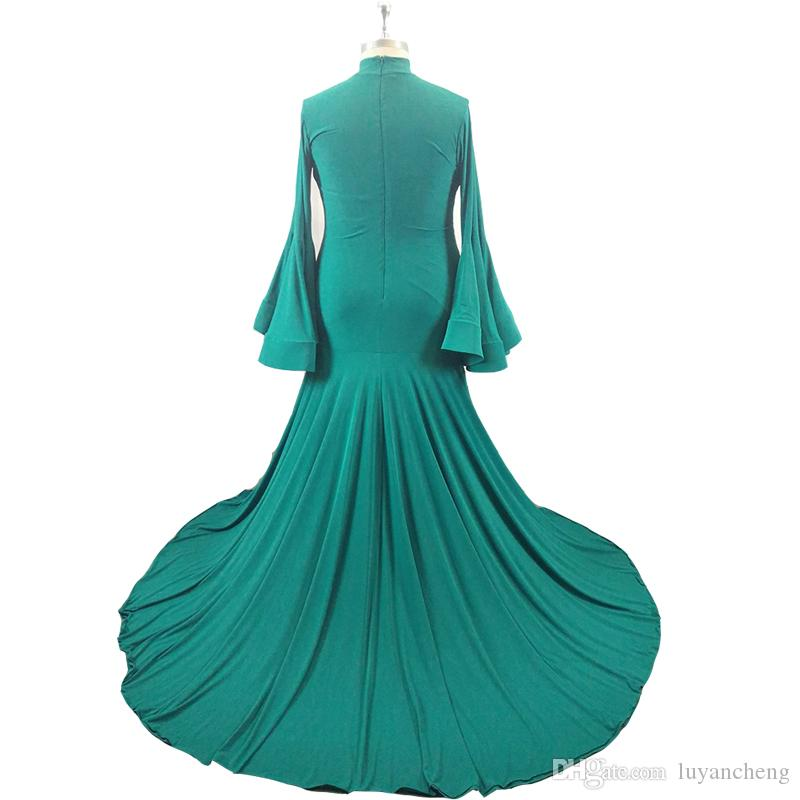 Glamorous Green Mermaid Evening Prom Dresses 2018 Newly High Neck Long Sleeves Prom Dresses Sweep Train Celebrity Red Carpet Gowns Plus Size