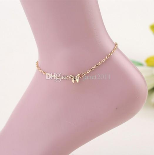 Handmade Ankle Bracelets For Girls/Ladies Alloy Gold Plated Butterfly Charm Punk Jewelry Anklet Ankle Chain Bracelets