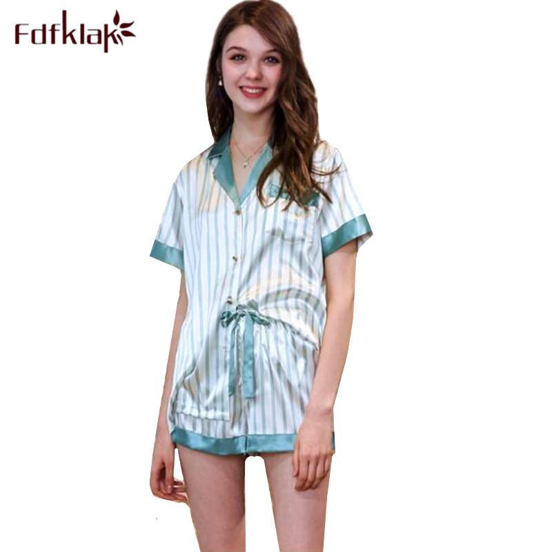 2019 Fdfklak Silk Satin Pyjamas Women Short Sleeve Summer Pajamas Set  Student s Sleepwear Pajama Striped Shorts Pijamas Suit From Curteney edfbbf97c