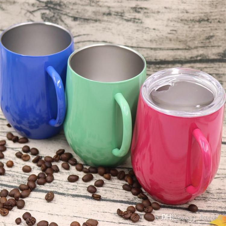 New 9oz Cup wine glass With Handle Double Wall stainless steel Thermos Stemless Powder Coated Travel Beer Mugs