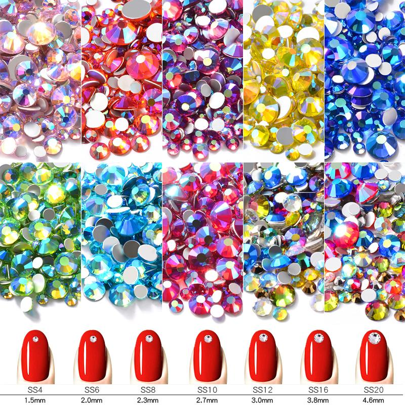 1Pack Shiny Options Crystal AB Nail Art Rhinestone Decorations Mixed Size  FlatBack 3D Glass Strass Manicure Accessories Nail Technician Nail Tips  From ... abf8610dfe50