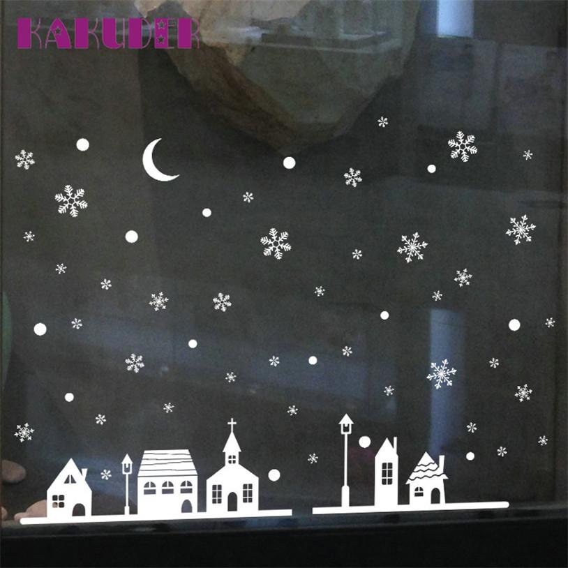 Window Stickers Christmas Shop Decoration Wall Stickers XMAS Snowflakes Town vinilos paredes u70821
