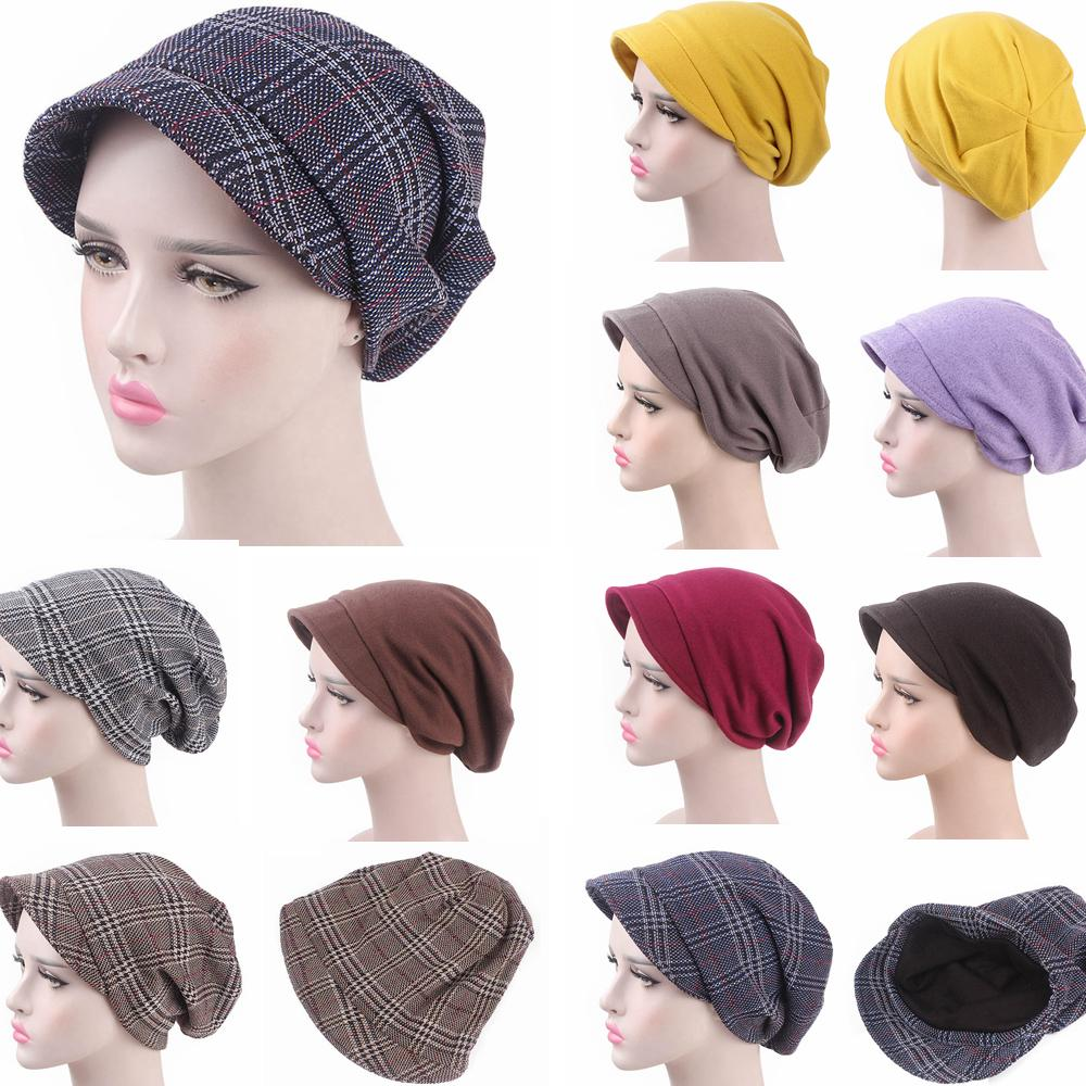 b4052622 Women Fashion Plaid Pile Cap Lady Baotou Slouch Hat Headscarf Baggy ...