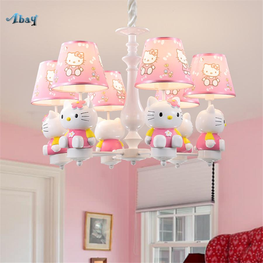 Cartoon Hello Kitty Pendant Lights For Living Room Children Bedroom Kids  Led Hanging Lamp Romantic Home Decor Cat Lamp Fixture Industrial Pendant  Light ...