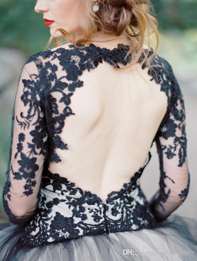 Son Siyah Dantel Ve Beyaz Tül Gelinlik Seksi V Boyun Backless Illusion Uzun Kollu Düğün Gelin Elbiseler Gotik Gelin Önlükler