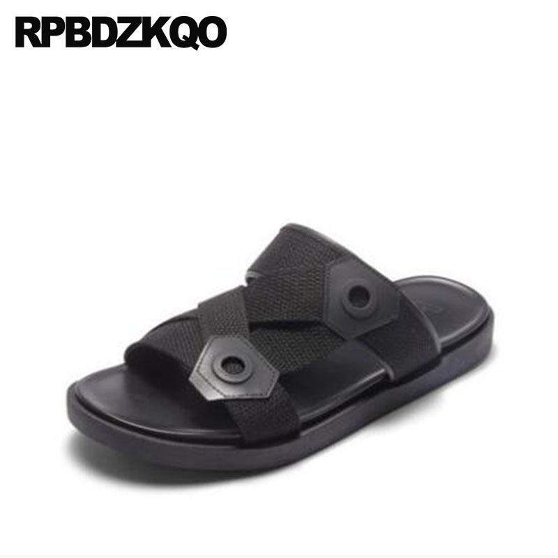 9a25df7122d8 Slip On Slides Shoes Designer Beach Strap High Quality Black Men Slippers  Mens Sandals 2018 Summer Outdoor Flat Open Toe Casual Cheap Shoes For Women  Buy ...