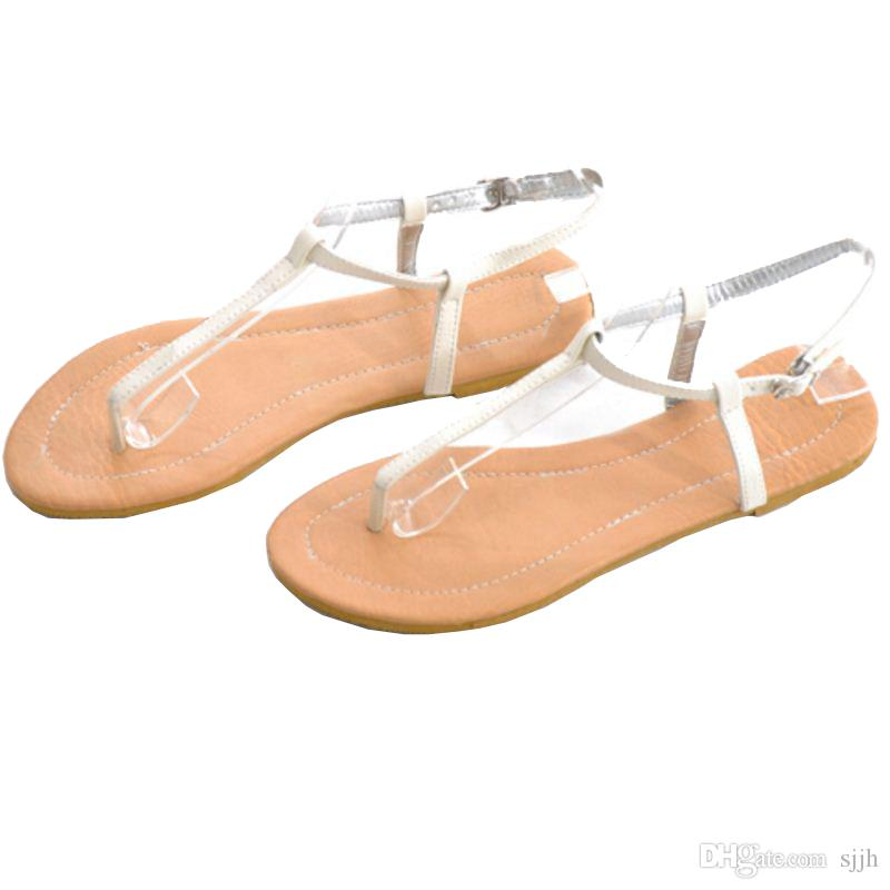 SJJH 2018 Soft Leather Material Flip Flops Comfortable Sandals Casual Dressy Shoes for Fashion Woman with Large Size Available A438