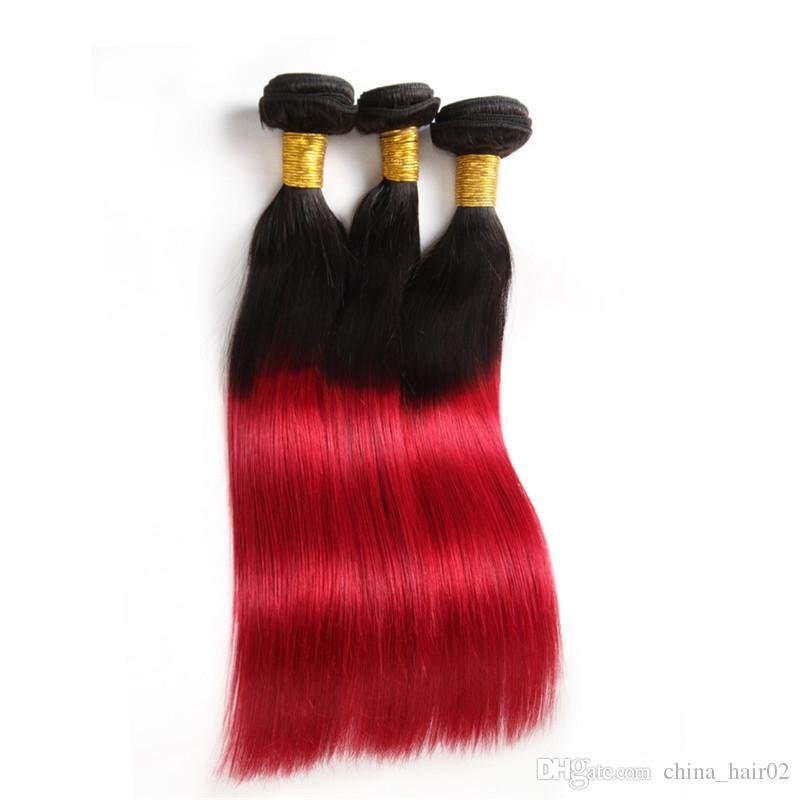 حريري مستقيم # 1B / الأحمر بيرو العذراء الإنسان الشعر حزم مع الرباط أمامي إغلاق 13x4 الأحمر أومبير 3 حزمة صفقات مع أمامي كامل