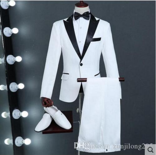 525b11b058a New White Jacket Pant Plus Size Solid Wear Men s Slim Suit Set ...