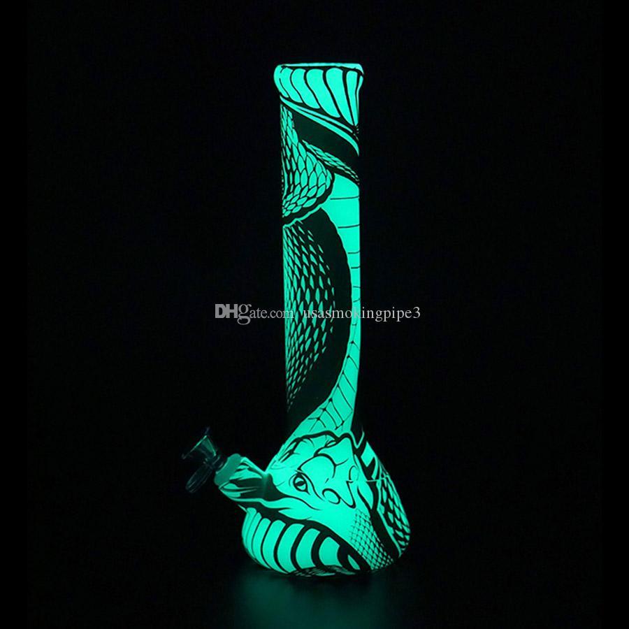 실리콘 워터 파이프 비커베이스 13.5 ''물 담뱃대 인쇄 봉지 Dab rig Cobra 질감 어둠 속에서 빛나는