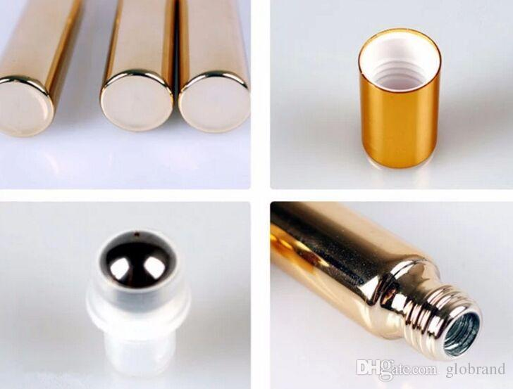 10ML UV Empty Glass Refillable Perfume Bottle With Metal Ball roll on perfume bottles Essential Bottles gold silver color GLO