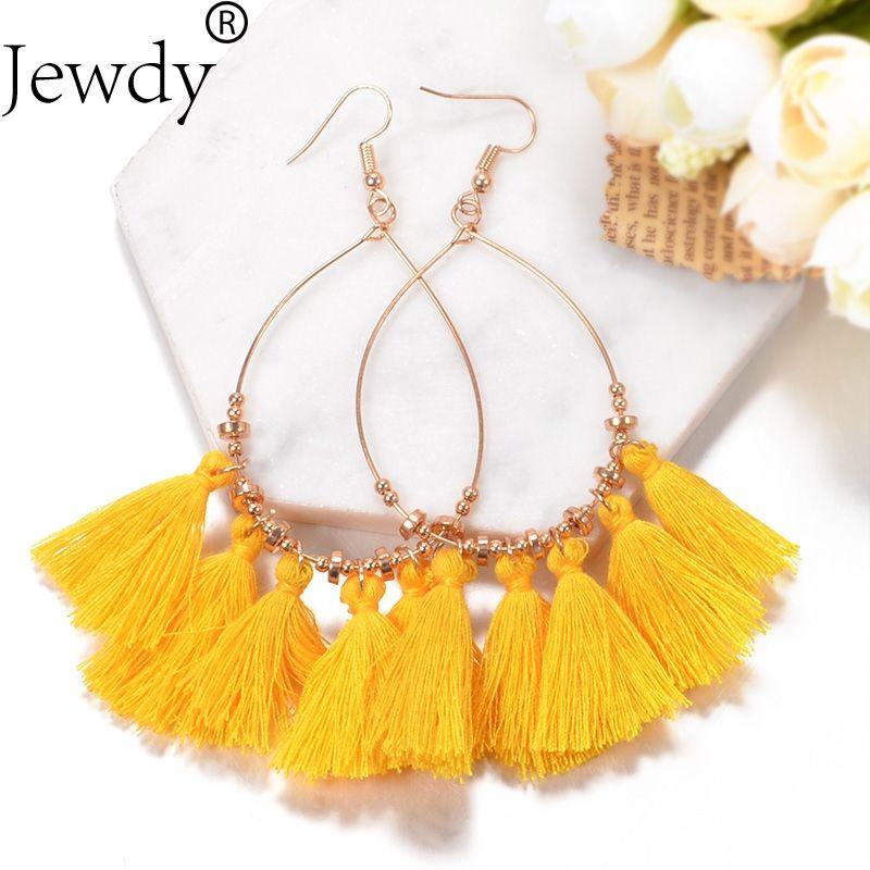 904a0d4f4eb11 Jewdy 2018 New Hot Tassel Drop Earrings Black vintage tassel earrings long  earring Big Dangle Female