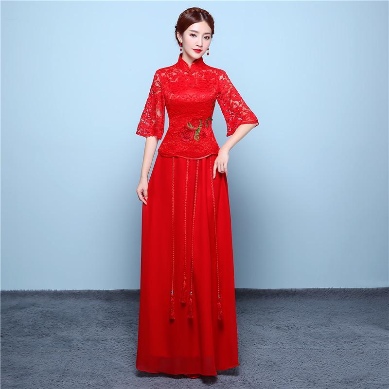 da3007072 2019 Red Long Cheongsam Wedding Dress Chinese Traditional Dress Women  Modern Qipao Robe Orientale Evening Wedding Gown From Finebeautyone, $59.03  | DHgate.