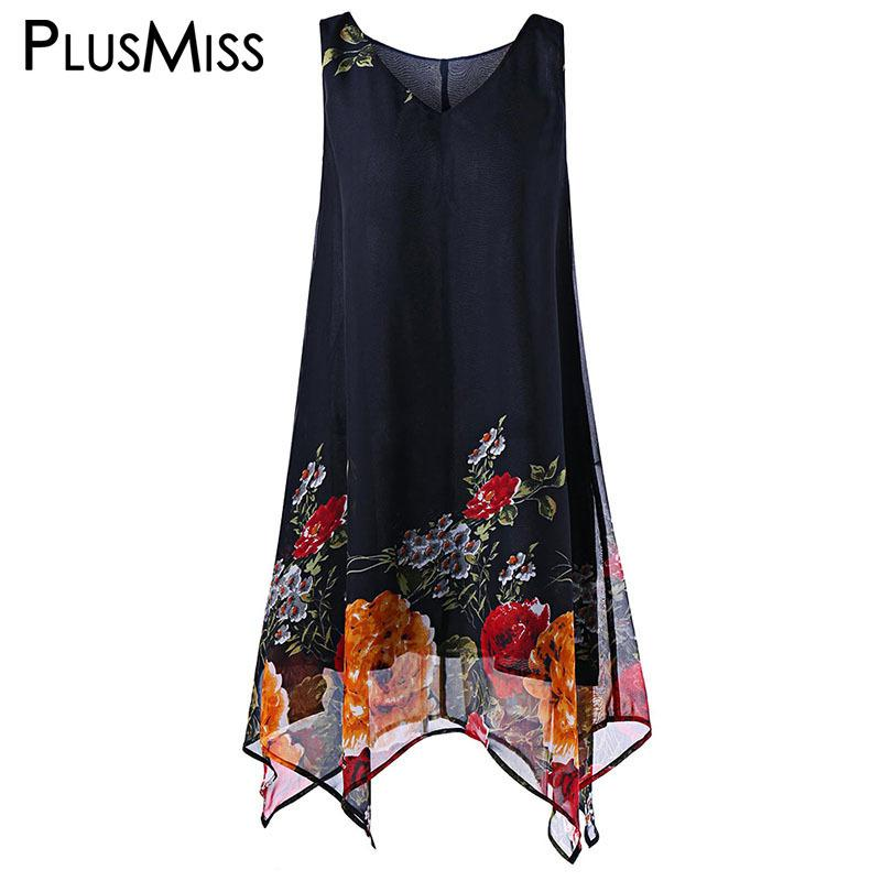 c8dcc478329 2019 Plus Size 5XL 4XL XXXXL XXXL Floral Print Boho Beach Chiffon Dress  Women Summer Sleeveless Loose Tank Dresses Oversized SundressY1882301 From  ...