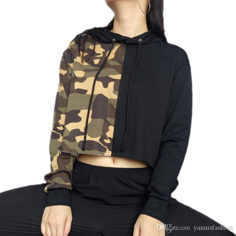 2019 New Autumn Winter Pullovers Long Sleeve Hoodie Sweatshirt Camouflage  Stitching Black Crop Tops Young Girls Clothes EBR616 From Yannisfashion 0cae05fee