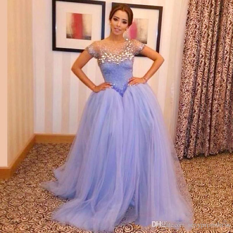 Lavanda Cuello escarpado Con cuentas Vestidos de baile Ilusión Mangas cortas Vestido de fiesta Vestido de fiesta Vestido de fiesta estilo árabe de tul Vestido de fiesta