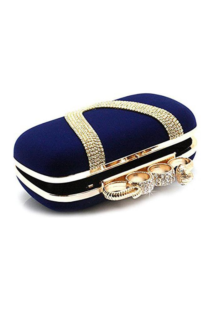 SNNY NEW Women's Elegant Evening Bag Ladies' Handbag Clutch Bag for wedding and evening dresses Snake Dark Blue