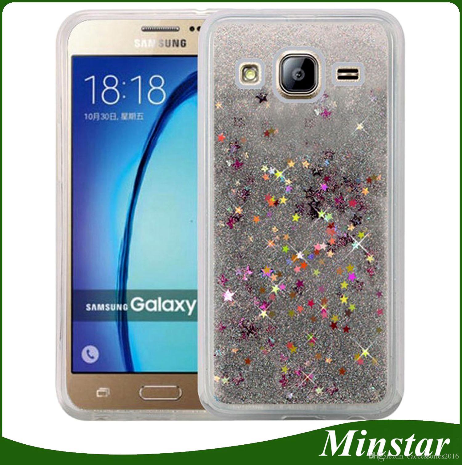 cheap for discount 253dc 2e813 For Samsung J7 2016 J710 J5 2015 J510 J3 2015 J2 J120 J1 Ace J110 TPU  Liquid Glitter Case Quicksand Moving Star Cover