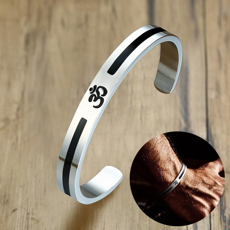 Men S Om Ohm Aum Hindu India Cuff Bracelet For Men Women Stainless