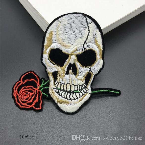 10*9 CM Skull Patches Custom Music Punk ACDC Embroidered Applique Patch Iron On Letter Patches For Clothes Stickers
