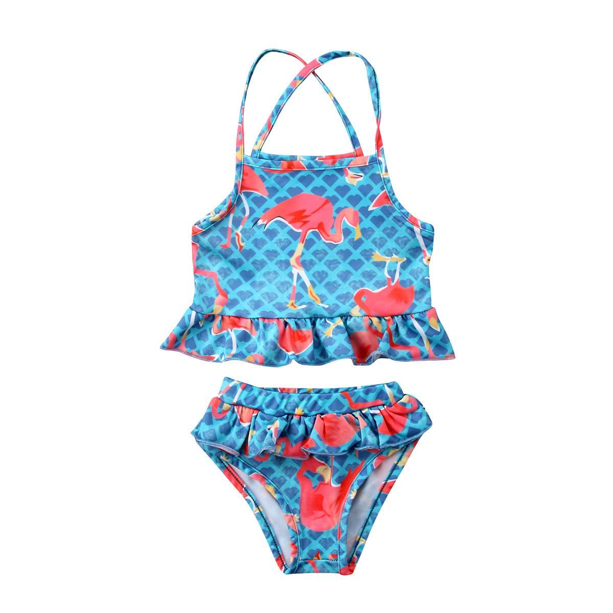 d85586f2d539c Summer Girls Swimsuits Two-Pieces Flamingo Printed Swimming Suit ...