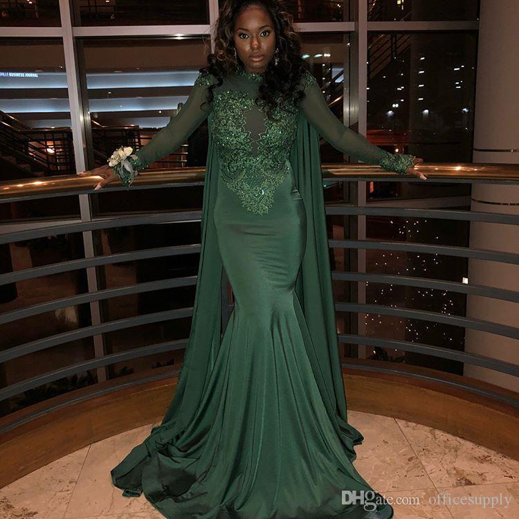 Neue Ankunft Dunkelgrün Perlen Abendkleider Sexy Cape Stil Meerjungfrau High Neck Long Sleeves Formal Pageant Prom Party Kleider Dubai Arabisch