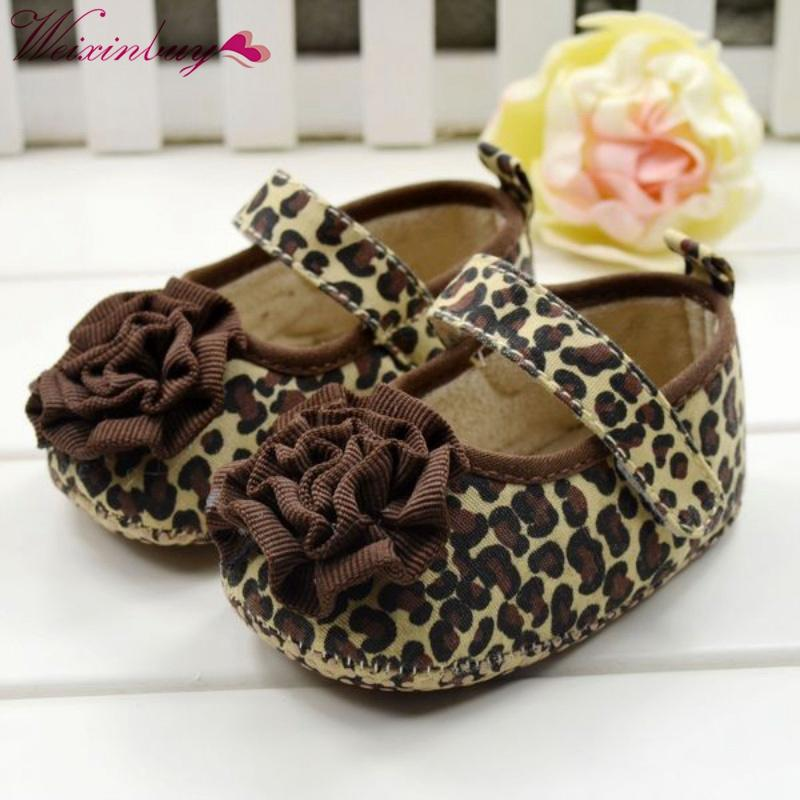 1c63a2bf9 2019 Fashion Baby Girl Kids Toddler Soft Bottom Shoes Brown Leopard Flower  Size 3 12 Month From Vingner