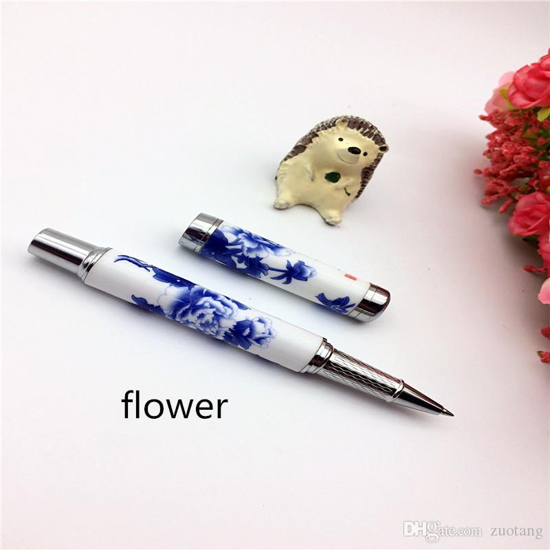Vintage cerámica de lujo Fine Gel Pen plumas chinas de alta calidad Azul y blanco de porcelana regalo de negocios Gel Ink Pen con caja de tapa dura