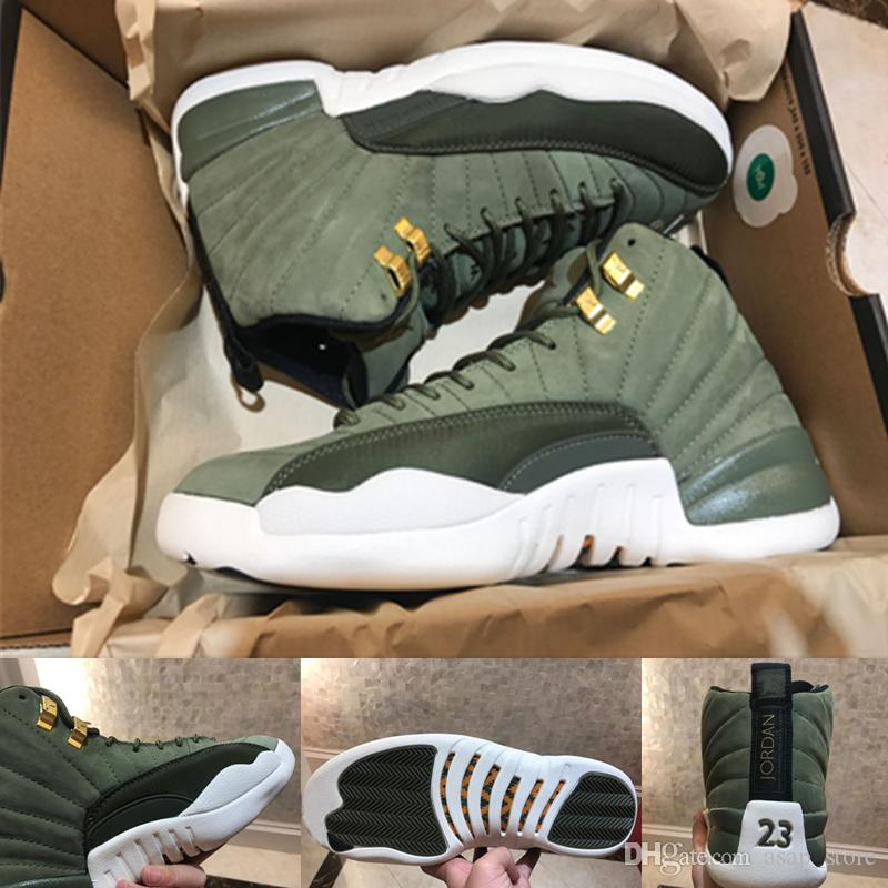 252a5e26f68141 2018 Newest 12 Graduation Pack Release 12s CP3 CLASS OF 2003 Olive Green  Suede Basketball Shoes Mens Trainers Brand Jumpman 130690 301 40 47 Girls  ...