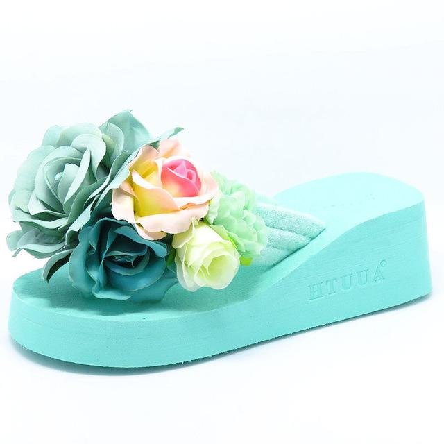 8a8d6f79b353e4 HTUUA 2017 New Summer Slippers Women Fashion Flip Flops Beach Platform Sandals  Ladies Handmade Flowers Wedge Jelly Shoes SX054 Women Flip Flops Beach  Summer ...