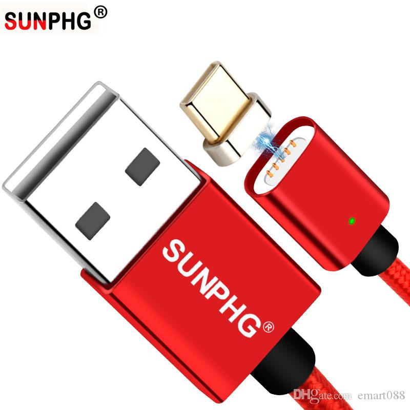 SUNPHG 5V OEM Type c Charger Magnetic Charging Cables Naylon Typec Adapter Fast Charge Braided For Huawei S9 Connector C-type Microusb