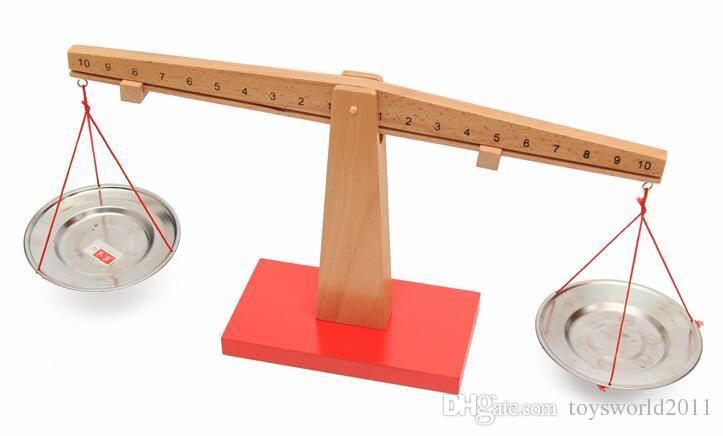 Montessori Balanza de madera Balanza de pesaje Guardería Preescolar Enseñanza Ayuda Juguetes de matemáticas