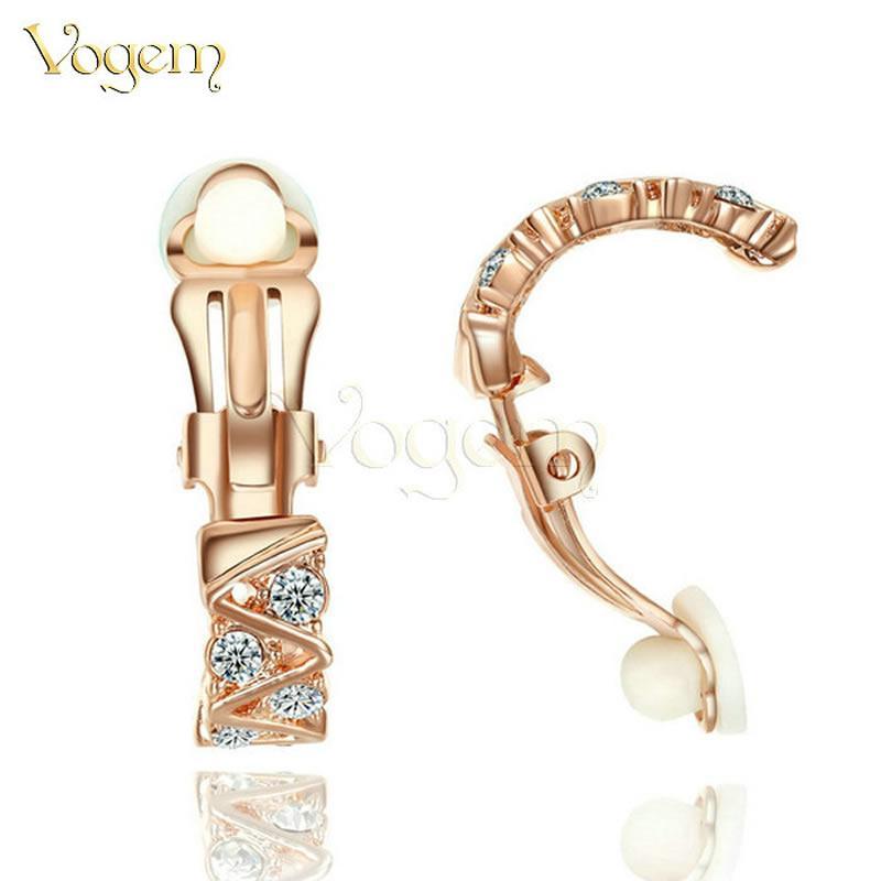 VOGEM классический Кристалл круглый клип на серьги для девушки женщины медный сплав розовое золото цвет цирконий ухо манжеты клипе подруга