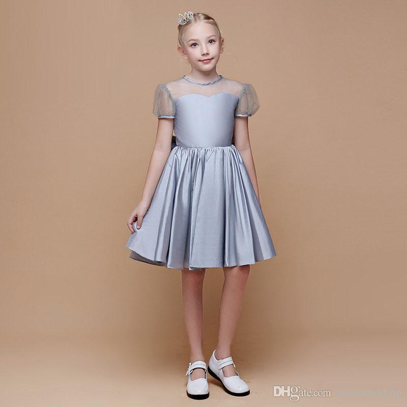 e04b731b7 Short Sleeve Silver Taffeta A Line Style Knee Length Party Girl S ...