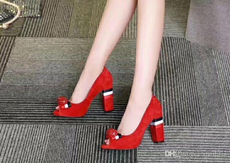 Frühling Peep Toe Bowknot Kristall High Heel Frauen Schuhe Mode Allgleiches Chunky Heel Echtes Leder Damenschuhe