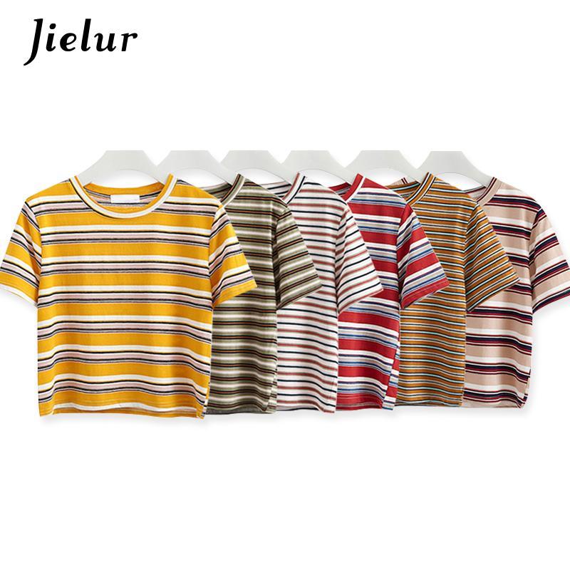 Chic Crop Hit T Camiseta Lâche Femme Couleur Harajuku Mode Shirt Coréenne 6 Couleurs Rayé Top Feminina Femmes Été 2018 QtshxrdC