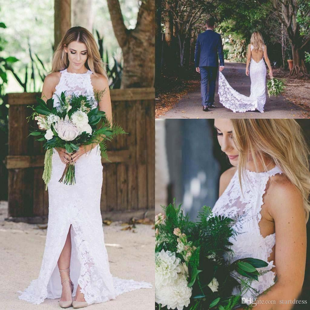 Hot White Full Lace High Neck Wedding Dresses Open Back Front Slit Cheap Country Garden Bridal Gowns Long Trains 2018 Summer bohemian Modest