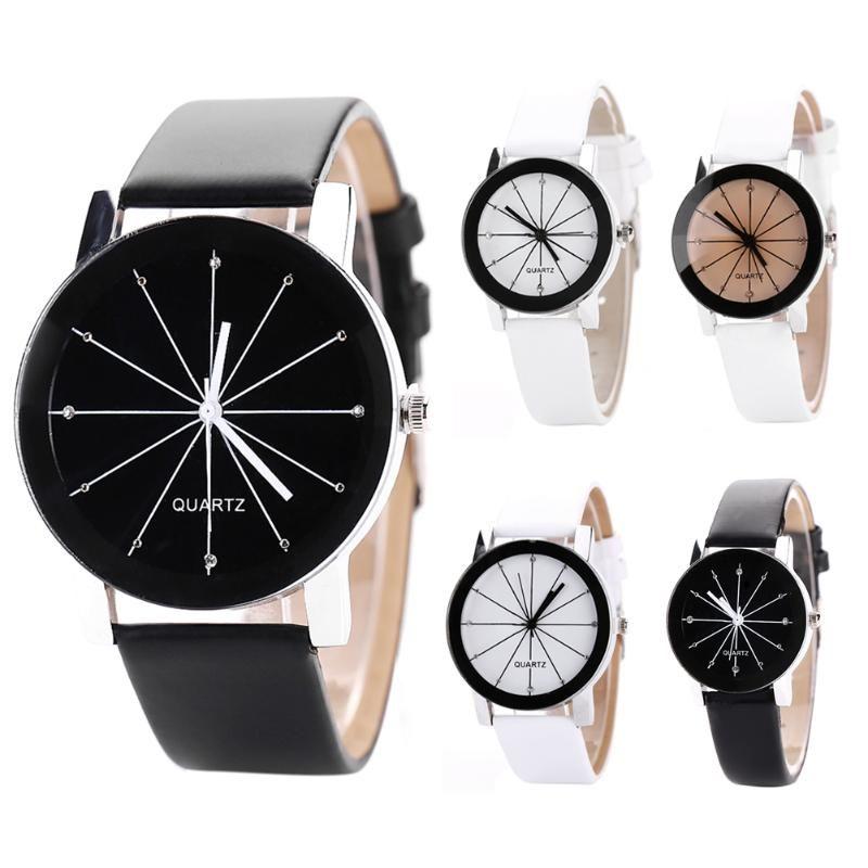 a1dc11cbd852 Compre 2018 Reloj De Moda Hombre Mujer Correa De Cuero Reloj Para Mujer  Reloj De Cuarzo Para Los Amantes Relojes De Pulsera Simples Relojes A   23.94 Del ...