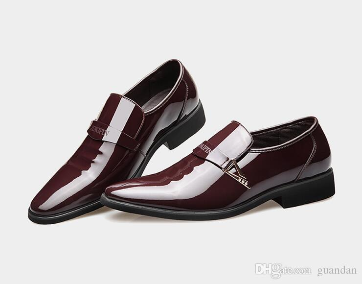 Bright Shiny Upper Leather Dress Shoes Men Formal Business Shoes Slip-on Without Shoelace Office Free Drop Shipping nx51