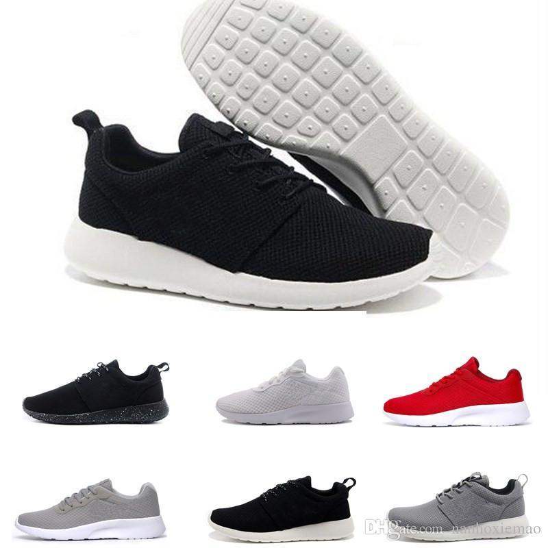 purchase cheap 59f6e 933df Compre NIKE ROSHE RUN Zapatos De Correr Clásicos Tanjun Negro Blanco Hombres  Zapatos De Para Mujeres London Olympic Deportes Para Hombre Al Aire Libre  ...