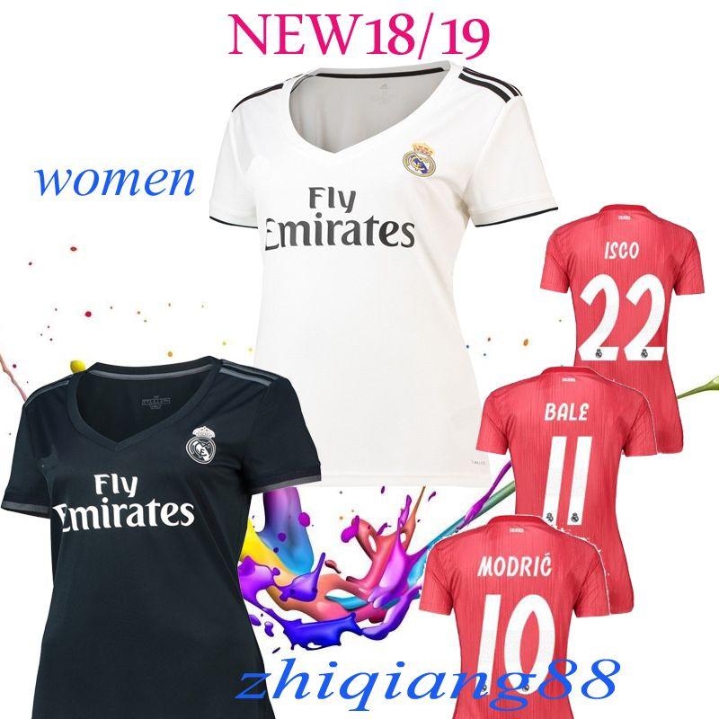 Mujeres ISCO Real Madrid Camisetas Blancas De Fútbol 18 19 Real Madrid  Mujeres Fuera Camisetas De Fútbol 2019 Dama Tercera Roja Uniformes De Fútbol  ASENSIO ... 56a5cace8ac6a