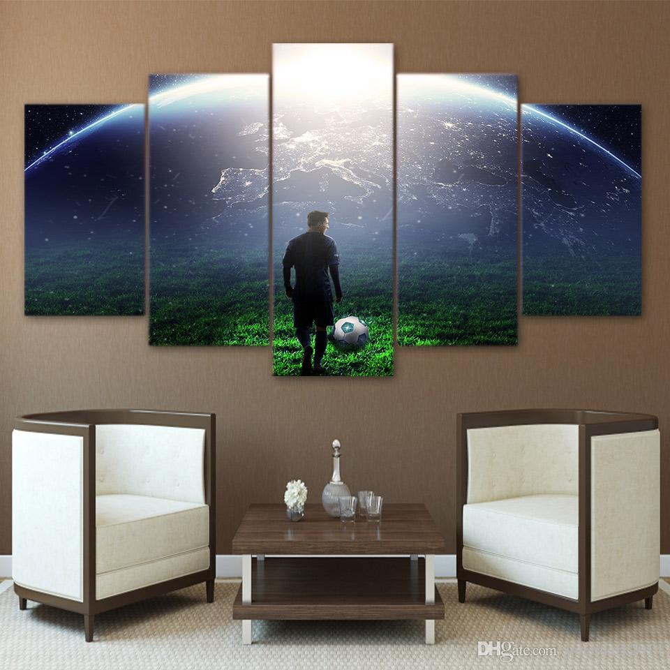 HD Printed Canvas Art Soccer Match Painting Lights Wall Pictures for Living Room Modern CU-2889C